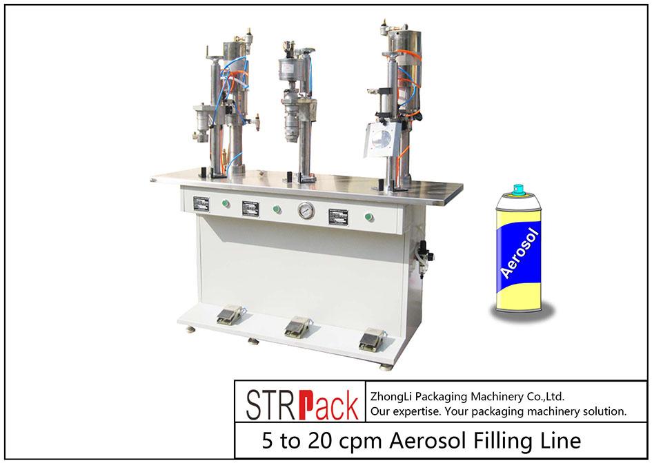 Aerosol betetzeko makina erdi-automatikoa