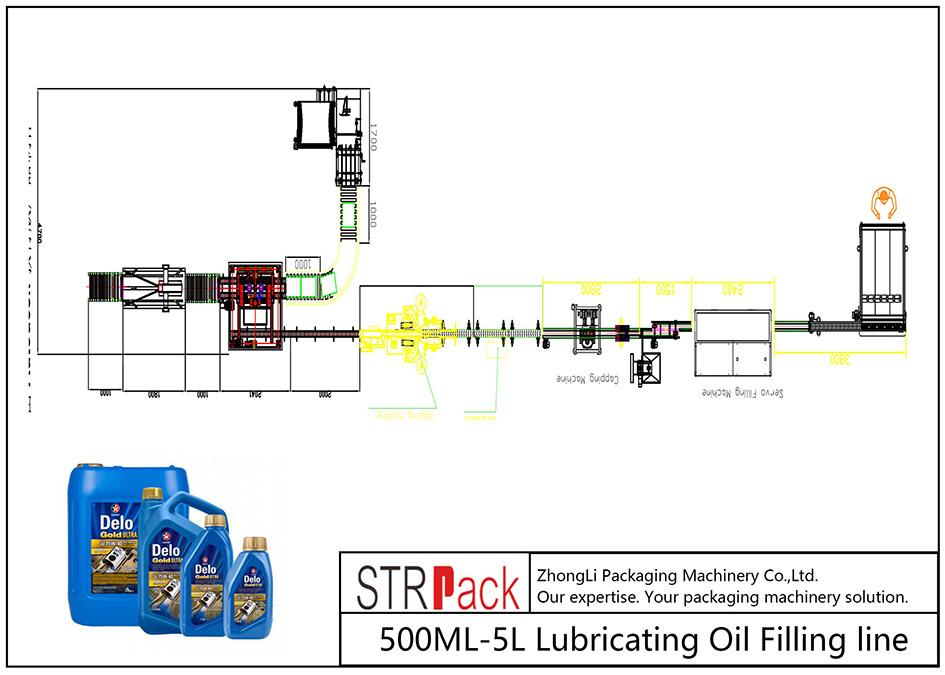 500ML-5L olio lubrifikatzaile betetzeko linea automatikoa
